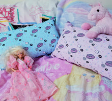 Load image into Gallery viewer, pink and blue boombox print pillows with pink unicorn plus and barbie doll