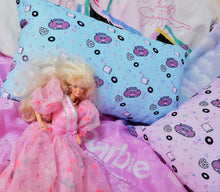 Load image into Gallery viewer, blue boombox print pillow with barbie doll
