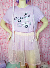 Load image into Gallery viewer, Miss Alphabet t-shirt modeled on a mannequin with a peach tutu skirt