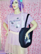 Load image into Gallery viewer, mannequin modeling Miss Alphabet t-shirt and black Miss Alphabet tote bag
