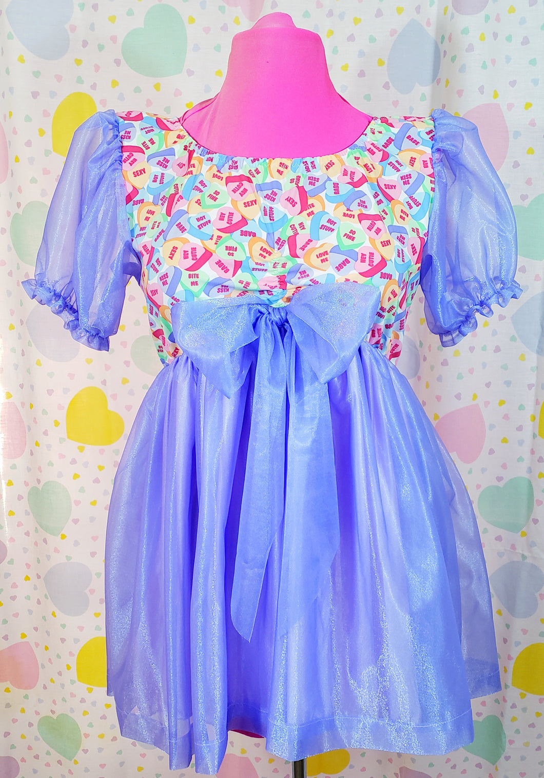 conversation hearts dress with purple sleeves and skirt