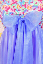Load image into Gallery viewer, conversation hearts dress with purple sleeves and skirt