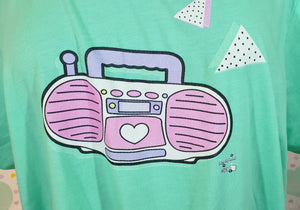 mint t-shirt with barbie boombox