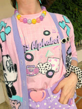 Load image into Gallery viewer, Pastel outfit with 90's Barbie boombox Miss Alphabet logo t-shirt