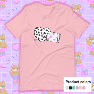 pink t-shirt with dalmation pillows