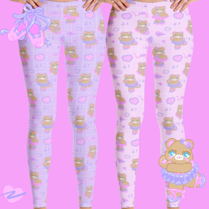 pink and purple ballerina bear leggings