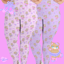 Load image into Gallery viewer, pink and purple ballerina bear leggings