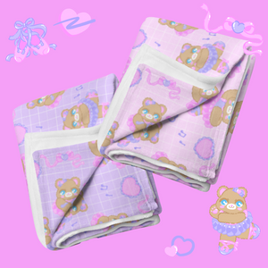 pink and purple ballerina bear blankets