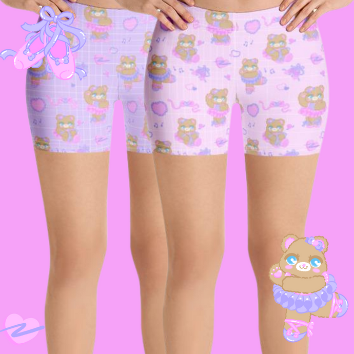 pink and purple ballerina bear bikers shorts