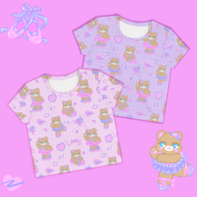 pink and purple ballerina bear crop tops