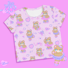 Load image into Gallery viewer, pink ballerina bear crop top