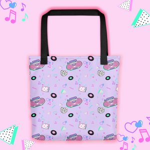 tote bag with pink barbie boombox print