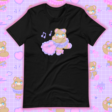 Load image into Gallery viewer, black t-shirt with ballerina bear