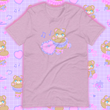 Load image into Gallery viewer, heather lilac t-shirt with ballerina bear