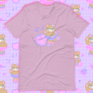 heather lilac t-shirt with ballerina bear