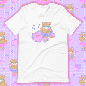white t-shirt with ballerina bear