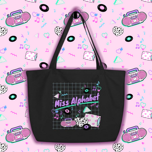 90's barbie boombox miss alphabet logo tote bag