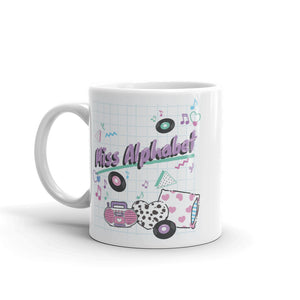 mug with pink miss alphabet barbie boombox logo motif