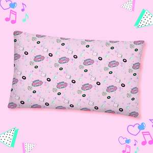 pillow with pink barbie 90s boombox print