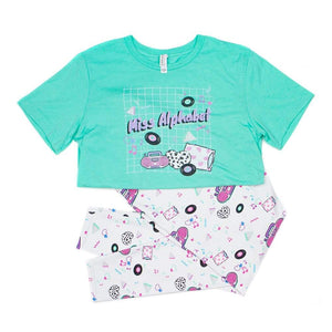 t-shirt and leggings with pink barbie boombox 90s print