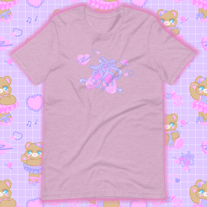 heather lilac t-shirt with ballet slippers
