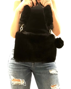 MEOW Black Faux Fur Bag