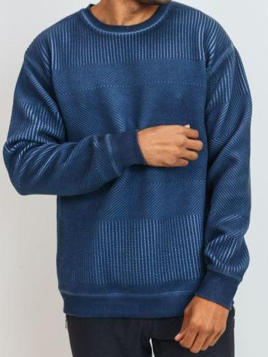 True Blue Herringbone Crewneck