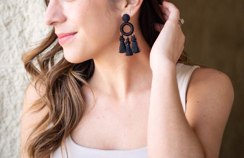 Core Black Tassel Earrings