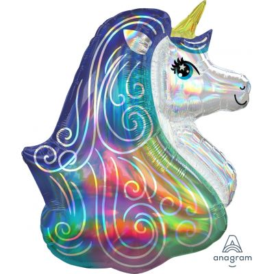 Holographic Iridescent Unicorn Head