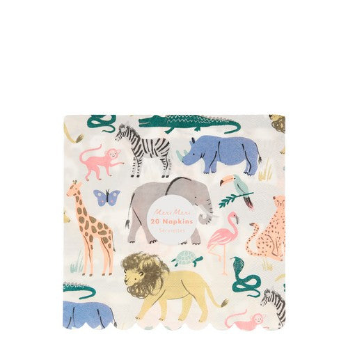 Safari Animals Large Napkins 20pk