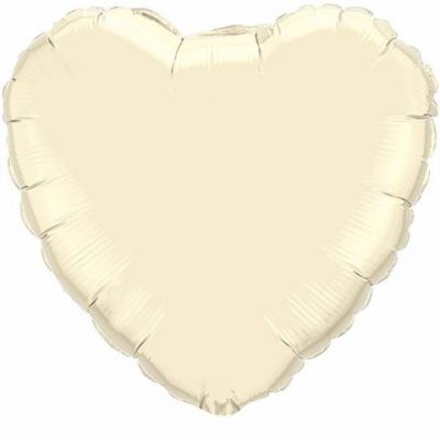 Foil Hearts 45cm Pearl Ivory