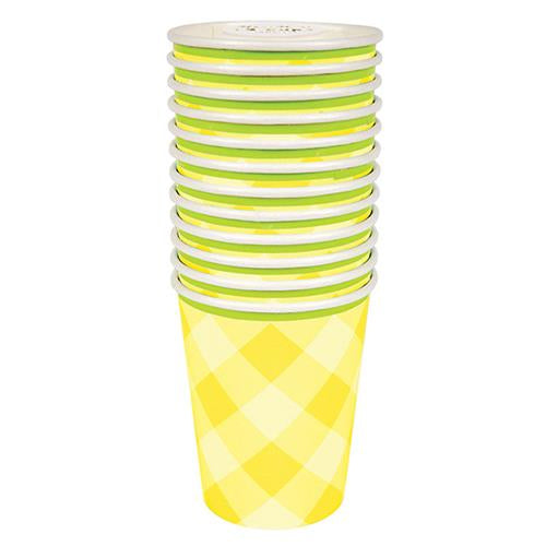 Yellow Gingham cup 12 Set