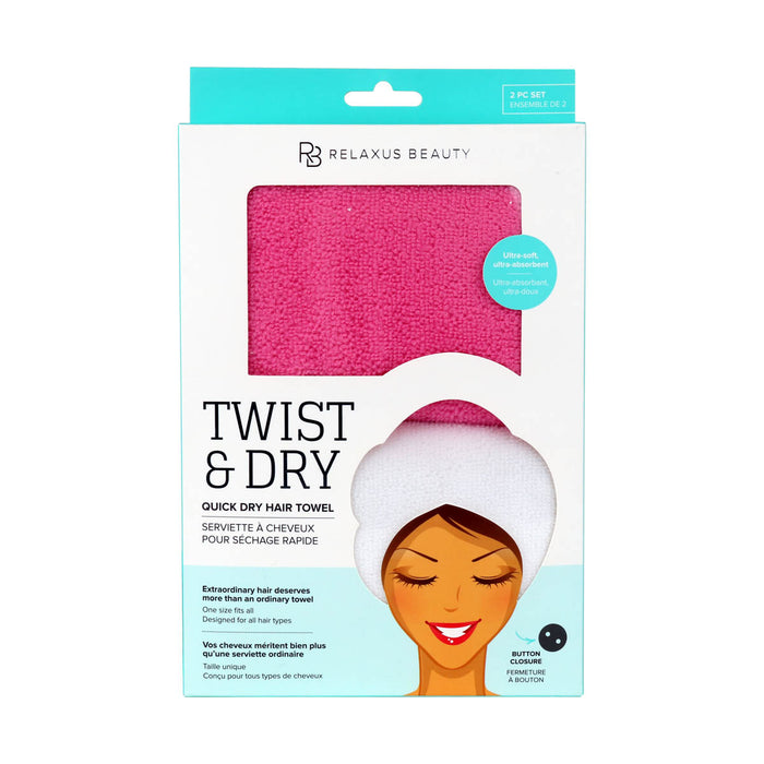 Twist & Dry Quick Dry Hair Towel 2-Pack box