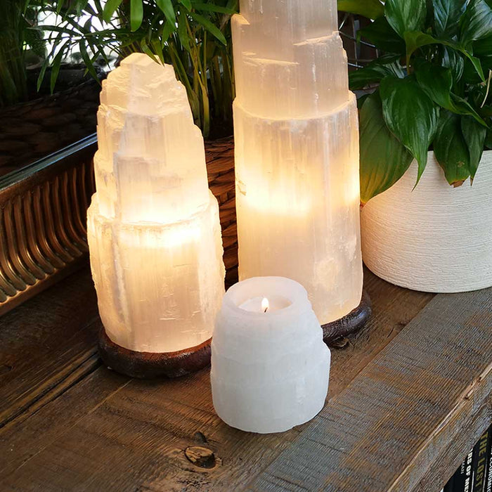 Wholesale Selenite Crystal Lamp Tealight Candle Holder