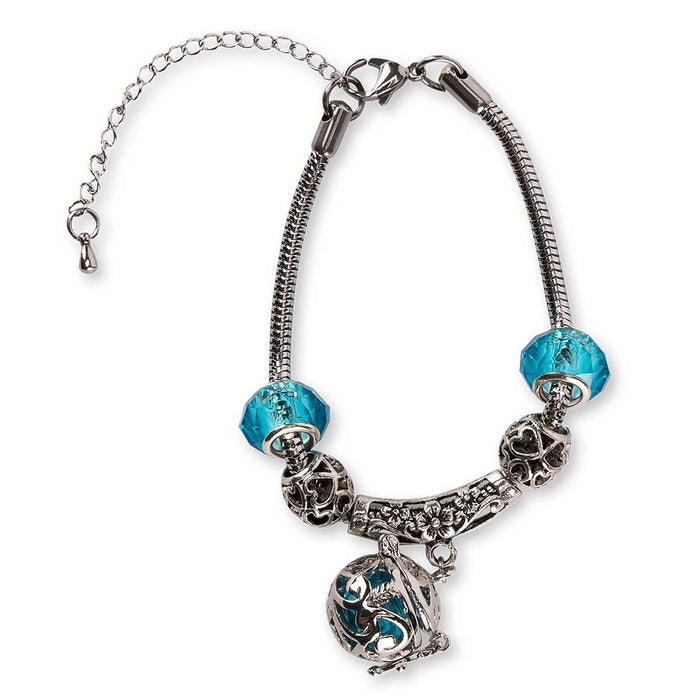 Wholesale Firenze Silver Chain Blue Aroma Diffuser Bracelet