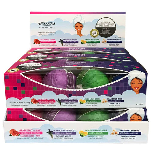 Wholesale Colour Therapy Bath Bombs 4 Piece Gift Set (4 x 100 g) Displayer of 6