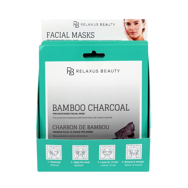 Wholesale Bamboo Charcoal & Tea Tree Oil Face Mask Displayer of 12