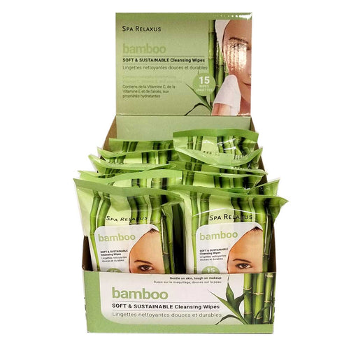 Wholesale Bamboo with Aloe Cleansing Wipes Displayer of 12
