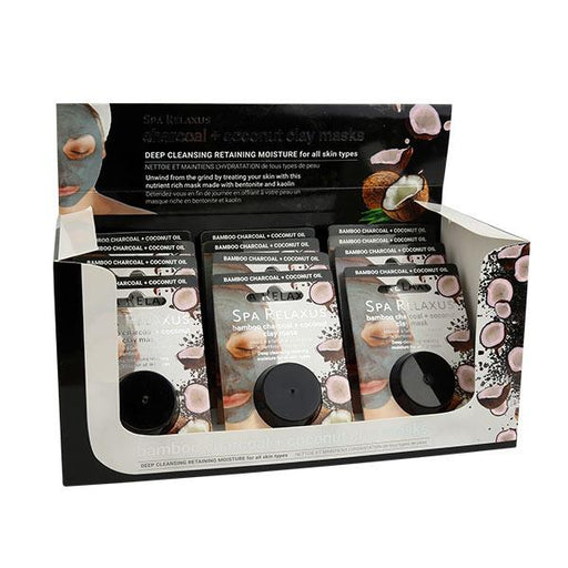 Wholesale Bamboo Charcoal & Coconut Clay Mask Displayer of 12