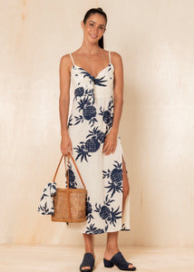 Pineapple Claire Midi Dress - Navy
