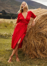 Load image into Gallery viewer, Love Story Tia Wrap Dress -Cherry