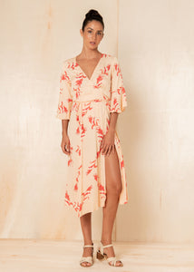 Floral Lisa Wrap Dress - Clay