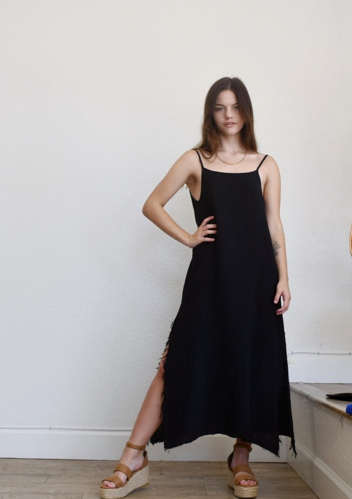 Long Black Cami Back Dress