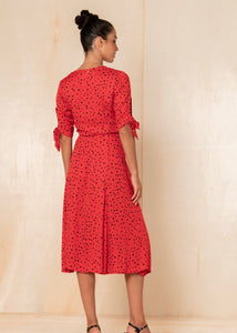 Love Story Tia Wrap Dress -Cherry