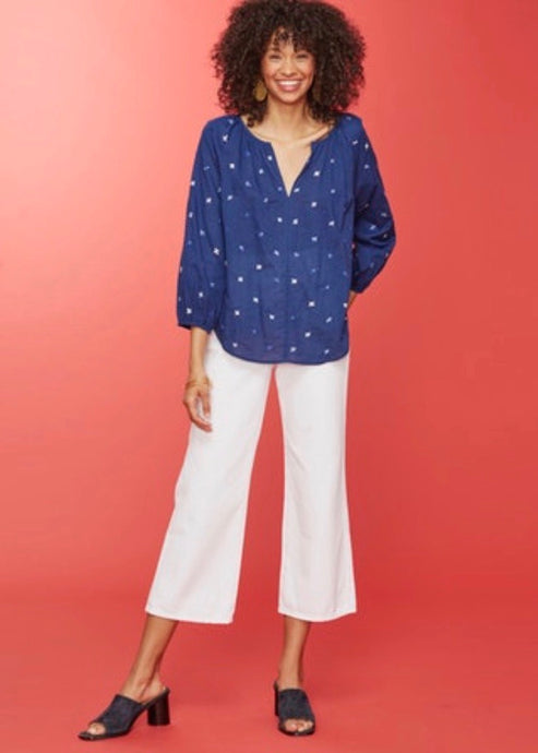 Lotus Blue Embroidery Malm Top