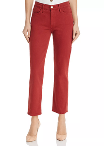 Le High Cropped Straight Leg Jeans - Fired Brick