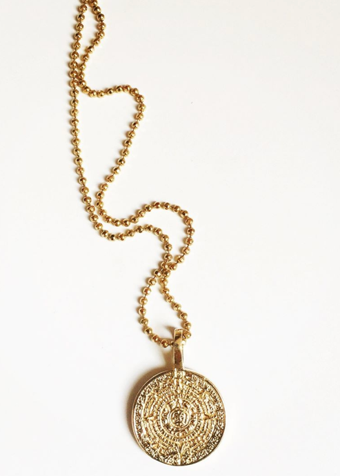 Mayan Sun Coin Necklace