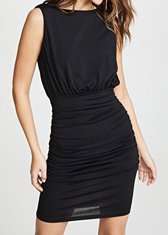 Sleeveless Cowl Mini Dress Black
