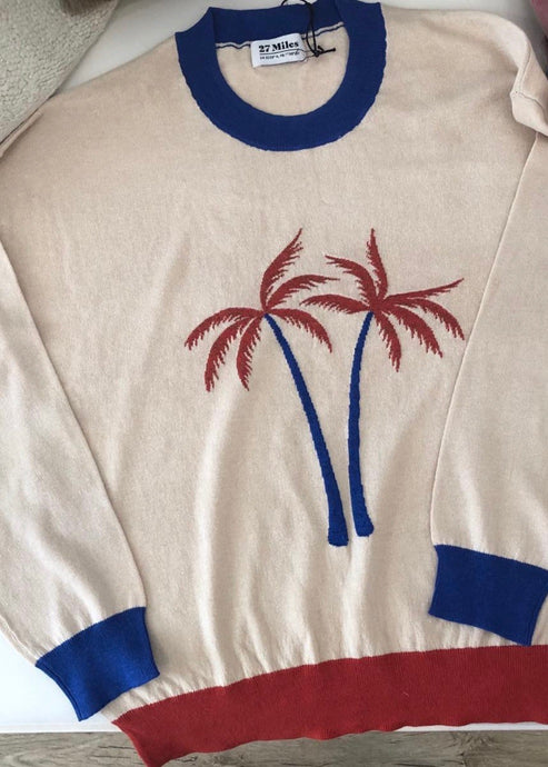 Pullover Over Crew W/ Palm Tree