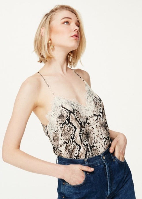 Racer Charmeuse Silk Camisole in Snakeskin